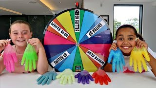 MYSTERY WHEEL OF SLIME GLOVES CHALLENGE!!