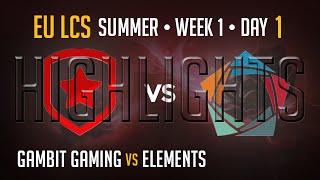Gambit Gaming vs Elements HIGHLIGHTS | Week 1 EU LCS Summer Split 2015 S5 | GMB vs EL W1