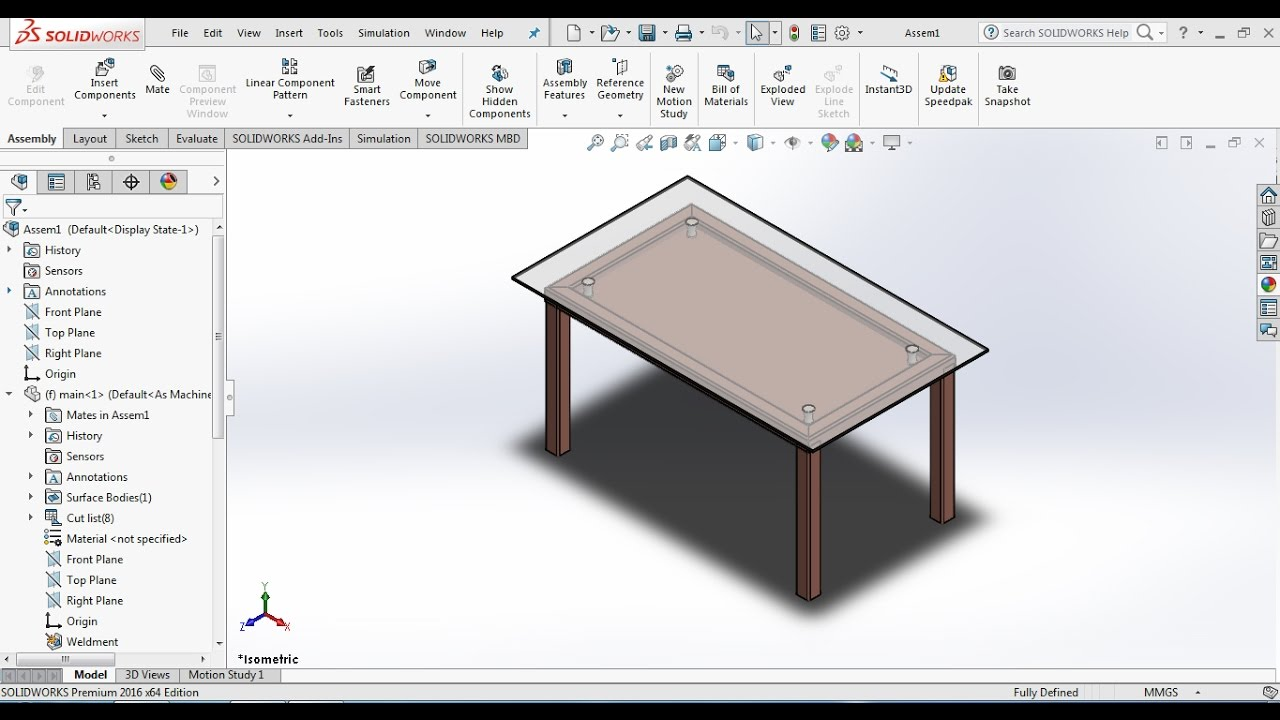Solidworks Tutorials How To Design A Dining Table Set In