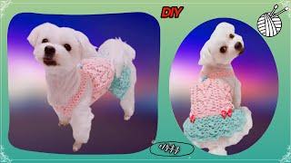DIY|이누후쿠|강아지옷뜨개질|코바늘|강아지여름옷만들기…