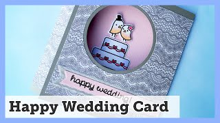 Happy Wedding card with Lawn Fawn stamps - Video #030