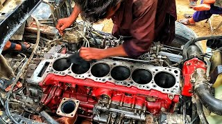 Heavy Truck Engine Seized Due to Oil Filters Wear Out || Rebuilding Hino FM 8J Dum Truck Engine