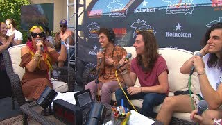 Megan Holiday talks with Greta Van Fleet at the KROQ Coachella House