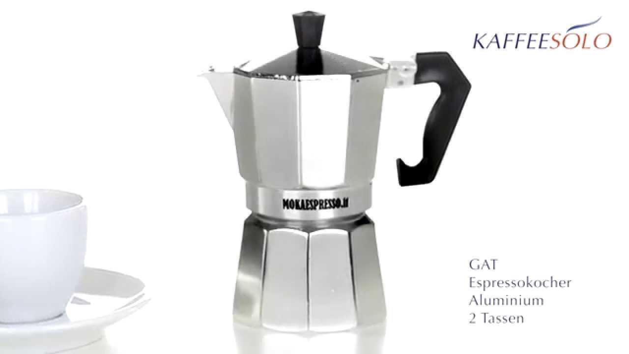Espressokocher  GAT Espressokocher Aluminium 2 Tassen - YouTube