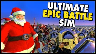 Ultimate Epic Battle Simulator- 100000 SANTA CLAUS ARMY vs 100000 DWARF ARMY! - Dressers vs Tables!