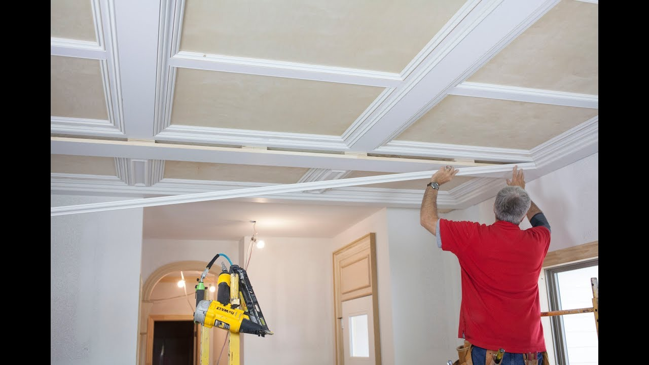 How to Build a Custom Panel/ Beam Ceiling with Stock Moulding ...