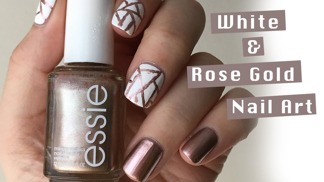 White and Rose Gold Abstract Nails - YouTube