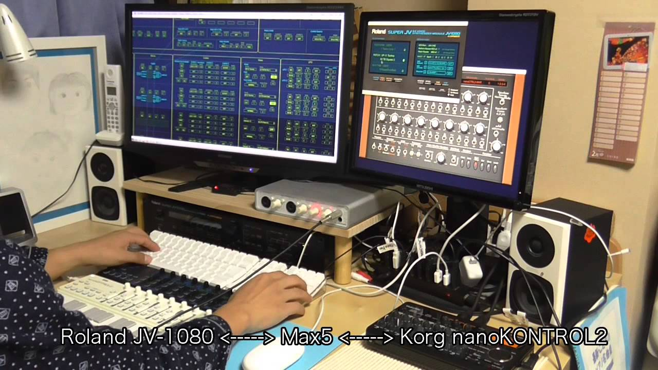 Roland JV-1080 controlled by Korg nanoKONTROL2 with System Exclusive
