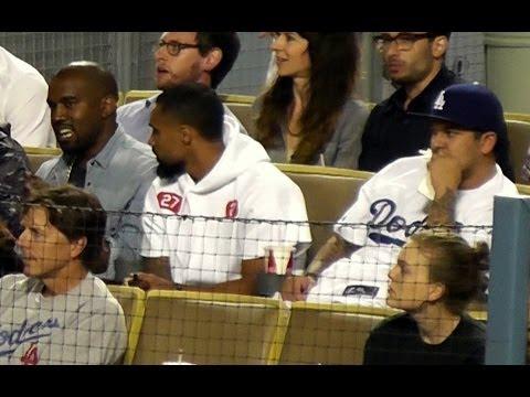 Kanye West and Rob Kardashian at Dodger Stadium