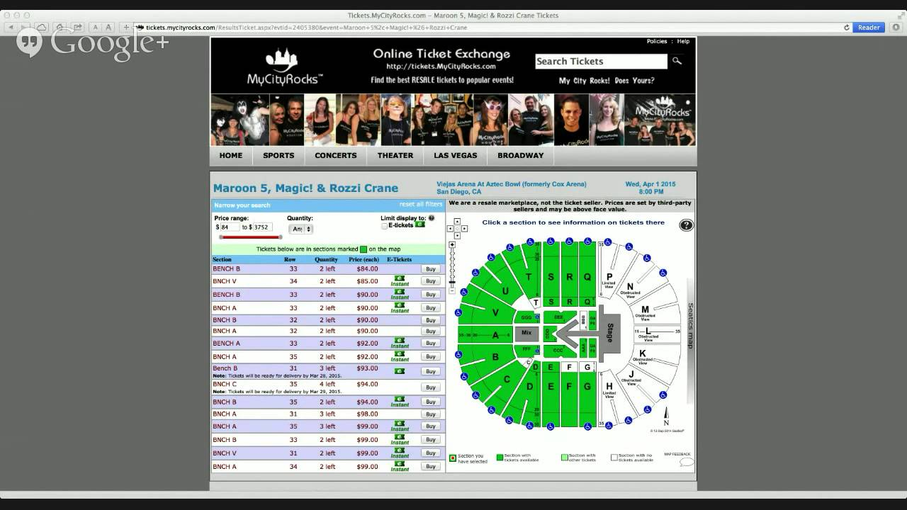 Maroon 5 San Diego Ca Tickets Viejas Arena At Aztec Bowl Cox Magic Rozzi Crane Concert