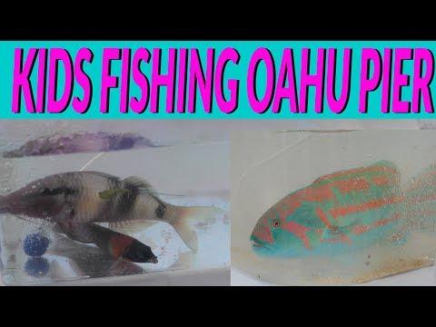 KIDS Fishing On OAHU HAWAII At Makai Pier - KIDS SHOW YOU HOW TO FISH IN HAWAII