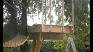 Building A Treehouse With Rope Bridge For The Kids