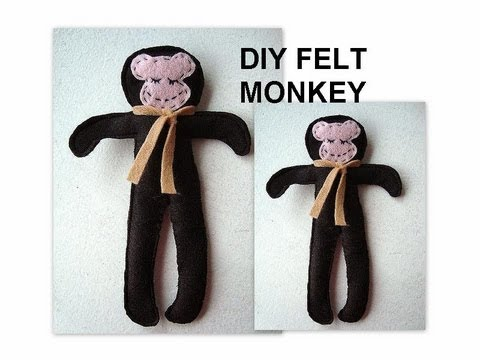 DIY, FELT MONKEY, free sewing pattern, softies, toy, felties, sewing ...