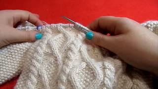 Реглан снизу, узор ромбы и жгуты. Часть 6 Вязание спицами.