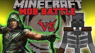 MUTANT SKELETON VS GREEN ARROW - Minecraft Mod Battle - Mob Battles - Superhero Mutant Creatures Mod