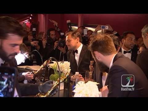 EXCLUSIVE!  Leonardo DiCaprio gets his OSCAR engraved at Governors Ball