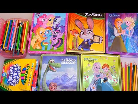 Learn Colors Coloring Zootopia, Frozen Anna and Elsa, My Little Pony (MLP), and The Good Dinosaur