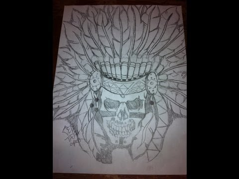 Native American Skull Drawing By Ced Tatau
