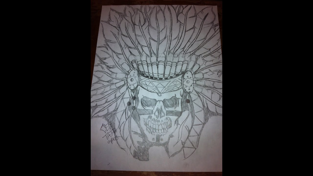 Native american skull drawing by ced tatau youtube ccuart Images