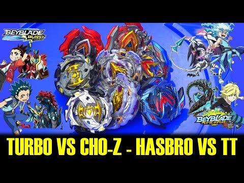 BRANDS BATTLE: HASBRO Vs TAKARA TOMY- Turbo Slingshock VS Super Z Beys-BEYBLADE BURST:TURBO VS CHO-Z