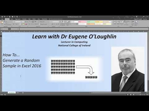 How To... Create a Random Sample in Excel 2016