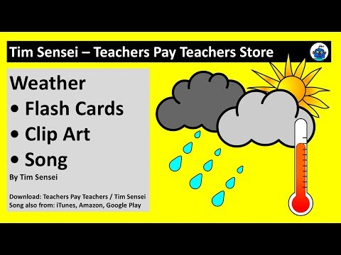 English Weather Flash Cards, Clip Art and Song for Teachers