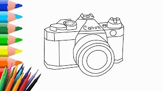 How to Draw a Camera Step by Step for Kids   Drawing ideas easy   Learn to Draw and Color