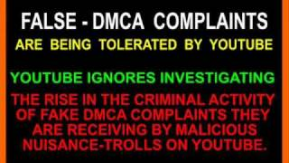Fake DMCA Complaints Allowed by Youtube