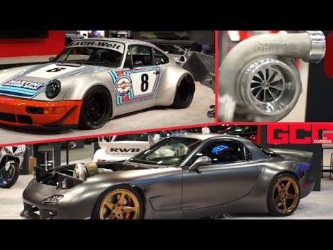GTX Gen II Turbo Release and Cars on Garrett stand at SEMA - 4WD RX-7, Porsche, Hoonicorn and more