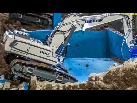 RC excavator EXTREME Part3! Pool demolition by R/C Liebherr 960!
