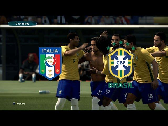 PES 17 -  It?lia vs Brasil - Est?dio Olimp?co de Roma - (Modo Estrela) Playstation 4