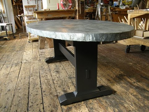 Zinc Oval Dining Table With Trestle Base