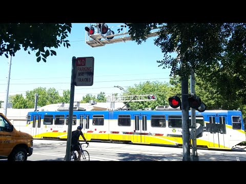 T Street Railroad Crossing, Sacramento Light Rail Blue Line Inbound, New Gate Barrier, Sacramento CA