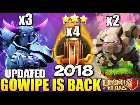 UPDATED GoWiPe Attack Strategy Clash Of Clans | Best Gowipe attack 4 Earthquake 2018 Triple threat