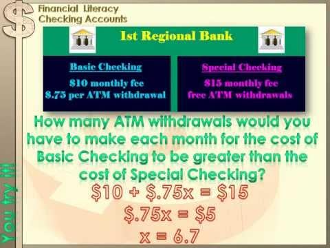 Financial Literacy – Checking Accounts: 8th grade math