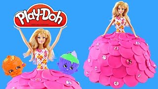 Play Doh Created Barbie Cake Dress Surprise Eggs Frozen Shopkins Mlp Vestido De La Torta Plastilina