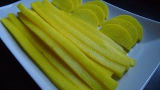 Корейская кухня: Танмуджи (단무지) или желтая маринованная редька