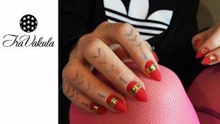 Red & Gold - Gel Polish  Nail Art - Дизайн ногтей: Золотые полосы на красном