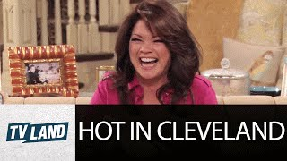 Valerie Bertineli (Melanie) Can't Stop Laughing | Shoe Bloopers | Hot In Cleveland | TV Land