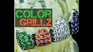 CZ Color Grillz Silver Tone Multi-Color Rainbow Clown Top Teeth Hip Hop Grills