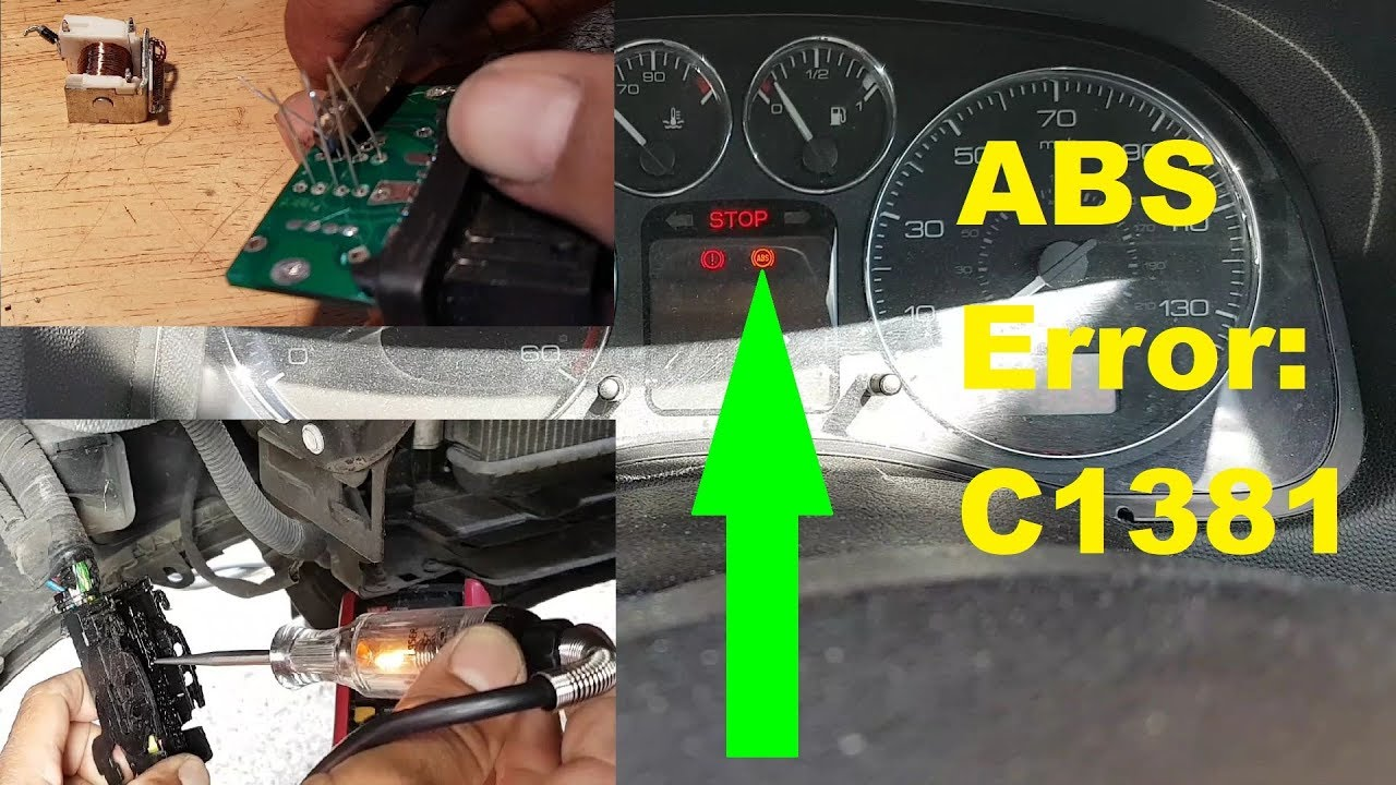 Peugeot 307 ABS light on  Error C1381  Fault finding and repair