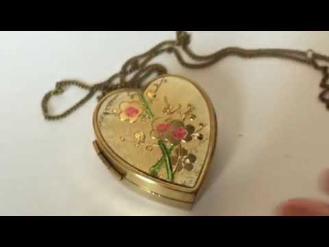 Vintage Miniature Music Box Pendant with Necklace and Photo Locket · Personalized GIft ·