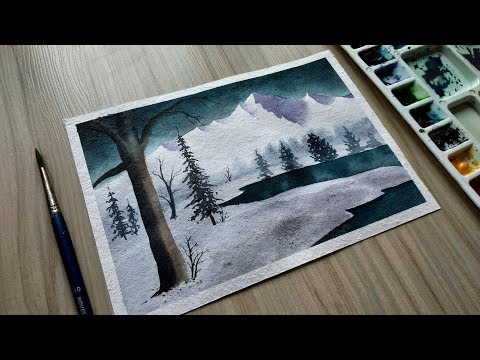 Watercolor painting | Watercolor tutorial of simple Mountain and Lake landscape easy