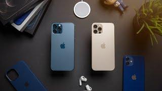 iPhone 12 Pro Color Comparison + Unboxing! (PACIFIC BLUE vs GOLD)