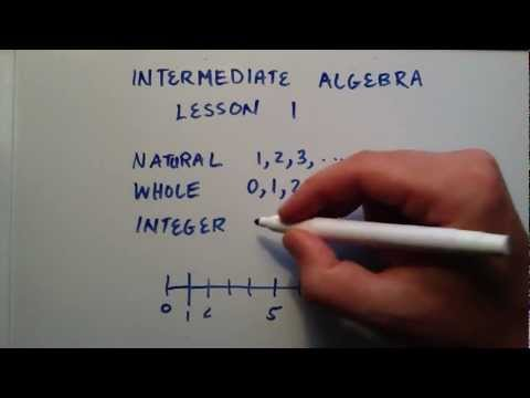 Natural Numbers, Whole Numbers, and Integers , Intermediate Algebra ,  Lesson 1