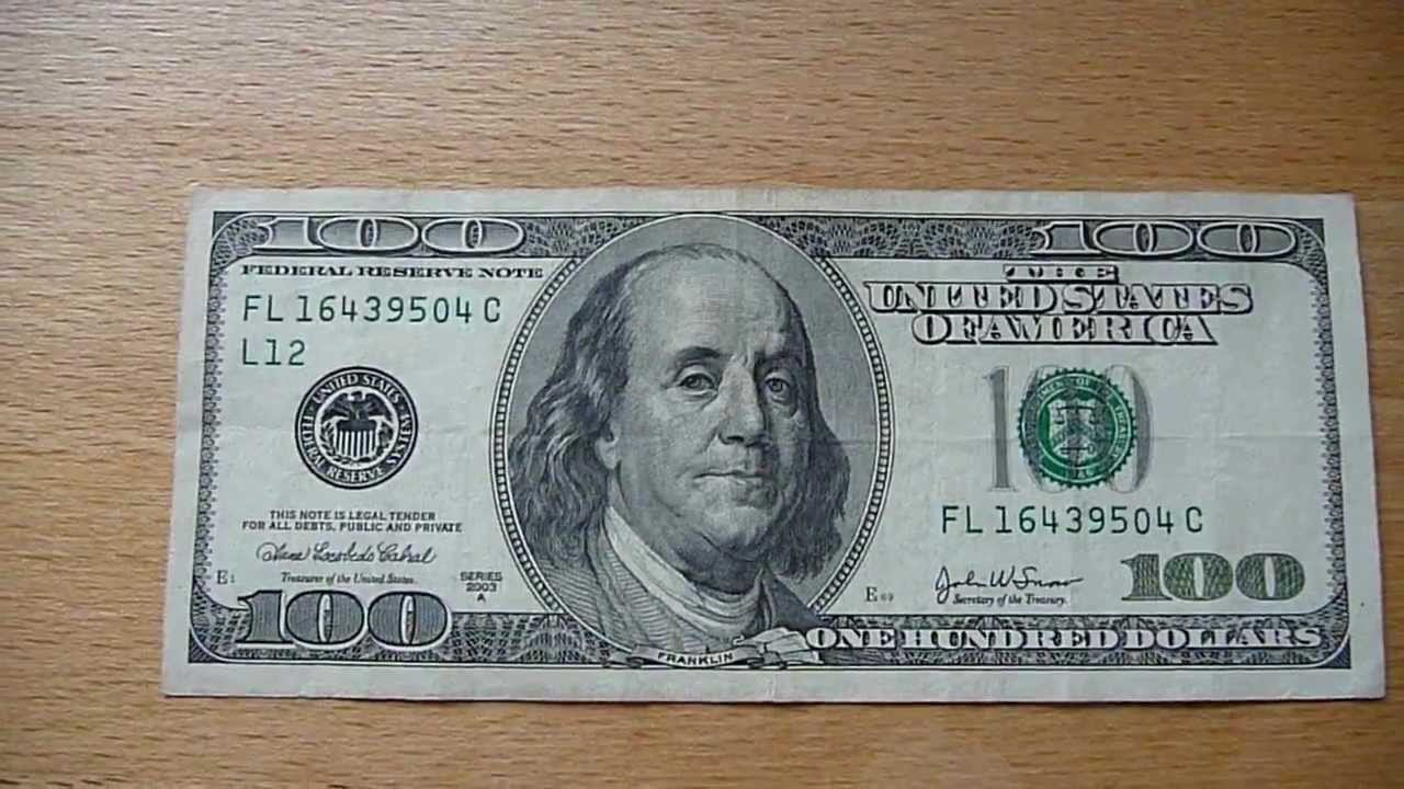 100 Dollar bill / 100 Dollar banknote Series 2003A - YouTube 100 Dollar Bill