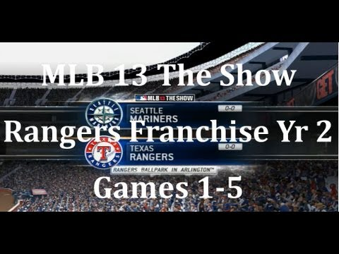 MLB 13 The Show Texas Rangers Franchise Yr 2 - gms 1-5 vs Seattle Mariners & Offseason