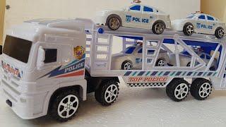Police Car Transporter for Kids unboxing Video for Kids car transporter truck