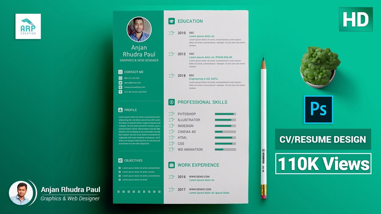 how to create a cv  resume template in photoshop   photoshop tutorial