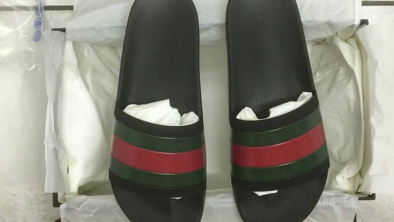 3e84ea00f7b841 Black Gucci Pursuit 72 Rubber Slide Sandal Unboxing - YouTube